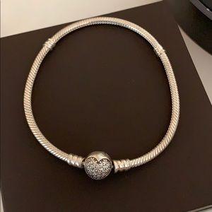 "New Pandora Sparkling Heart Bracelet 7.9"""